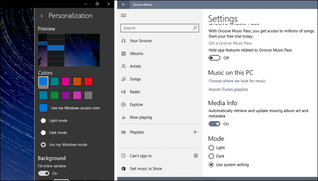 creators update widows 10 personalize custom colors