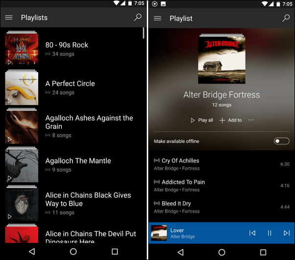 Groove Music on Android
