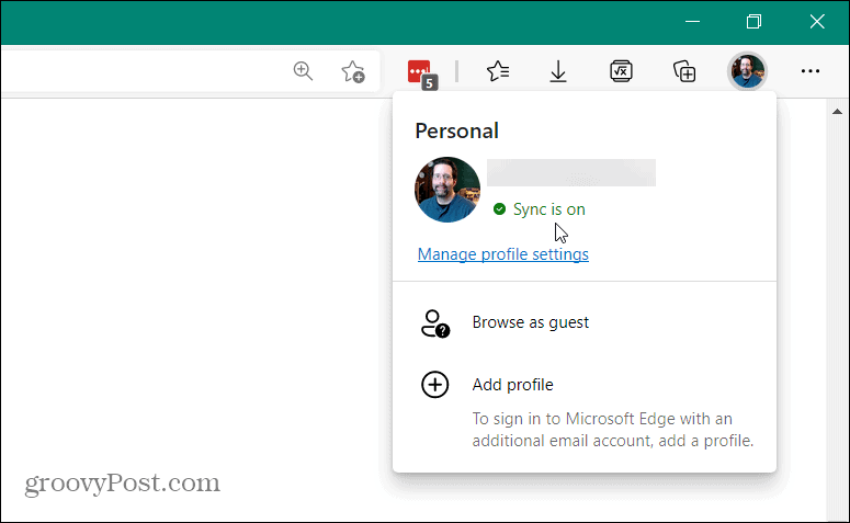 sync on Microsoft Edge