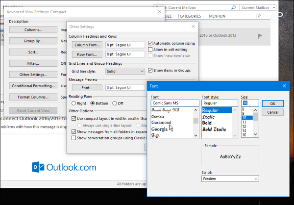 How to change folder font size in outlook 365