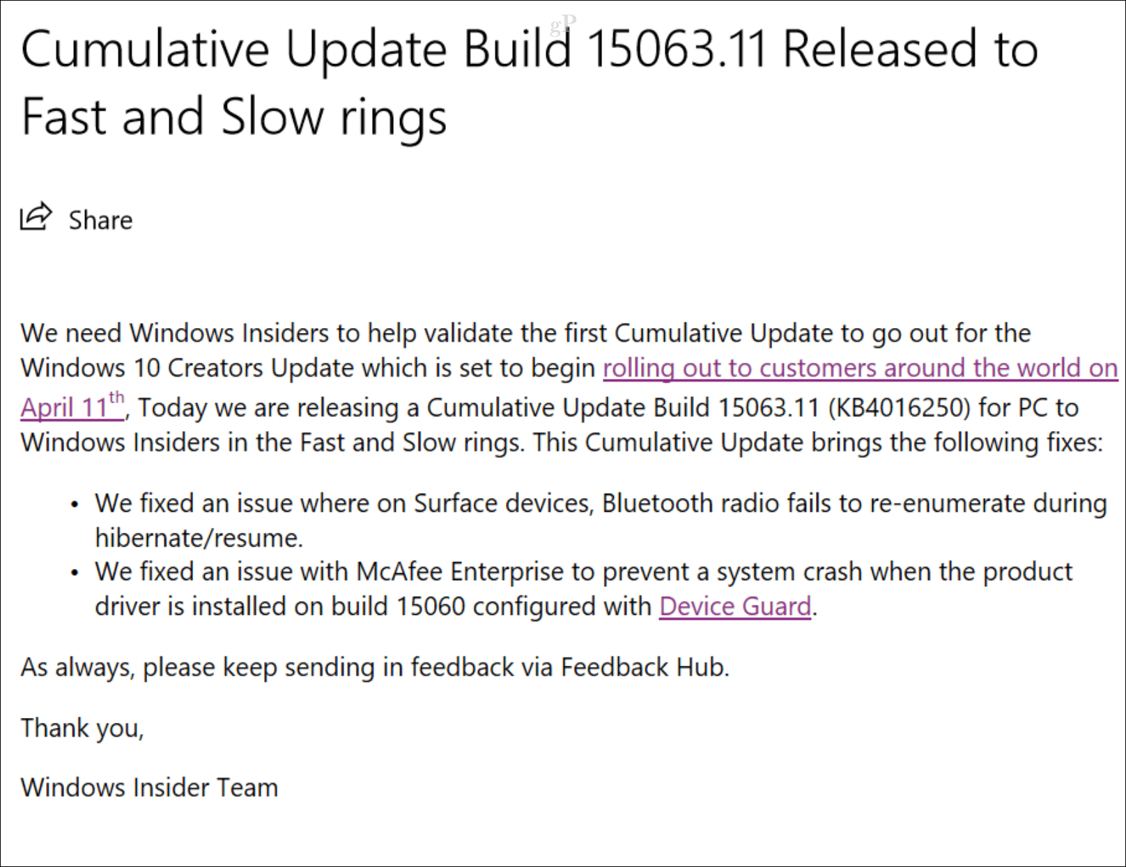 First Cumulative Update for Windows 10 Creators Update Released