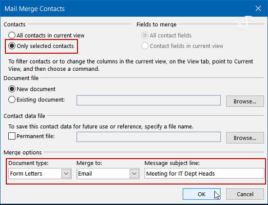 how to create a word document with mail merger