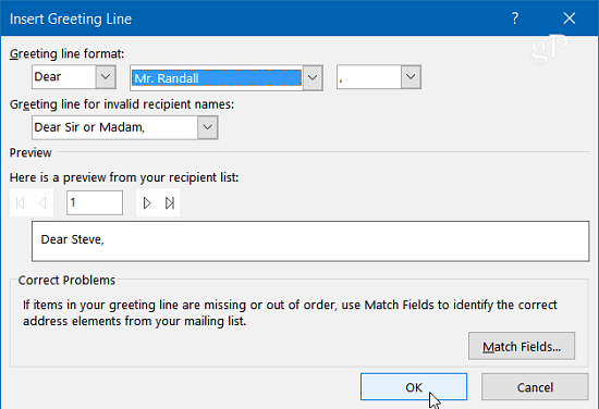 Send personalized mass emails with outlook 2013 or 2016 the insert greeting line box pops up here you can customize each of the fields to whatever you want or just use the defaults and click ok dont worry m4hsunfo