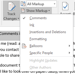 microsoft word print comments only no track changes