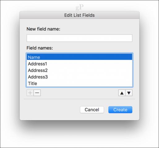 microsoft word for mac mail merge - Field Names