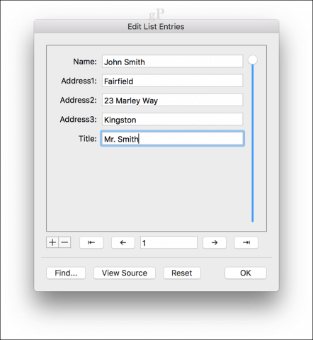 microsoft word for mac mail merge - List entries