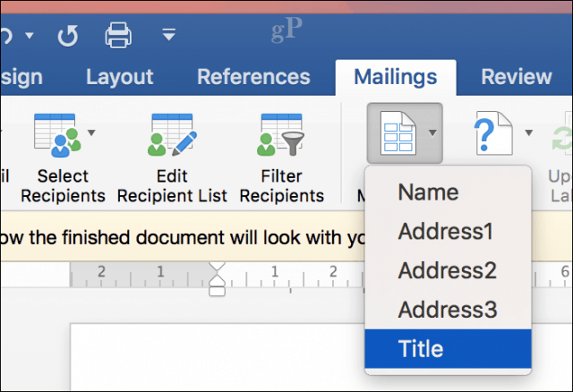microsoft word for mac mail merge - merge fields