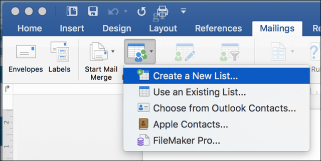 how to create a mailing list in word for mac