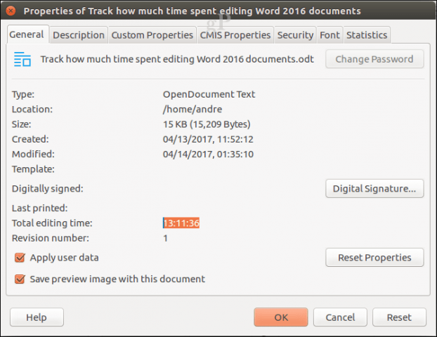 track how much time spent editing word 2016 documents