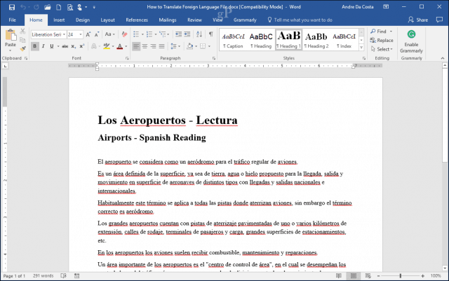 How to Translate Word 2016 Documents to Another Language