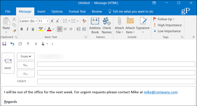 Create message Outlook