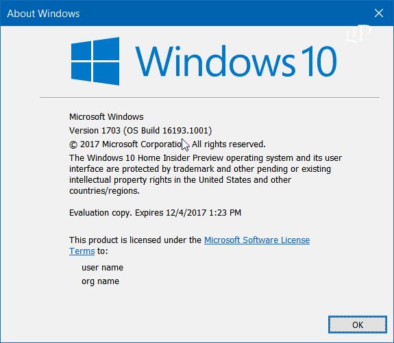Build 16193 winver