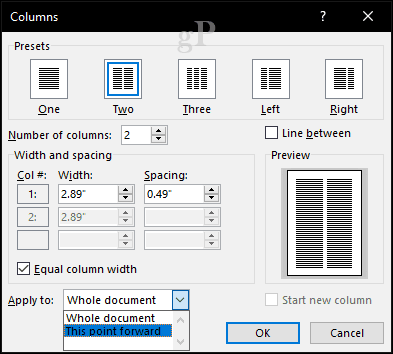 How to Start and End a Column in Microsoft Word 2016