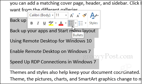 How To Create Custom Bullet Point Lists In Word 2016