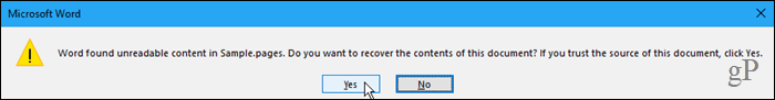 Found unreadable content dialog box in Word