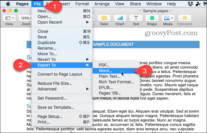 File > Export To > Word in Pages on Mac