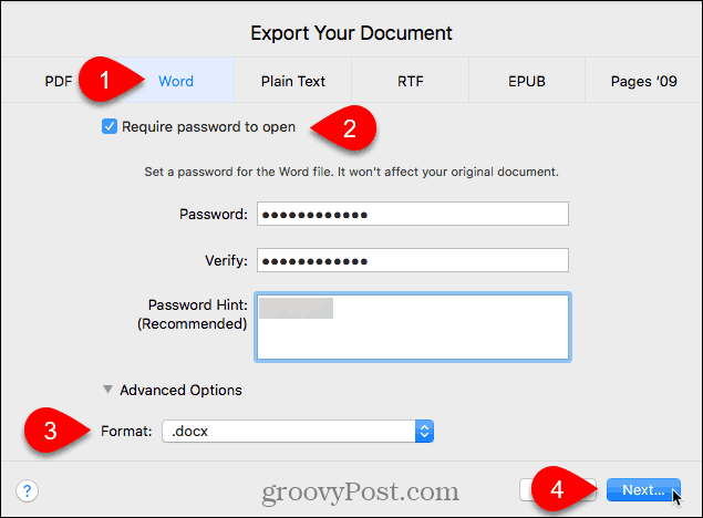 Export Your Document dialog box in Pages for Mac