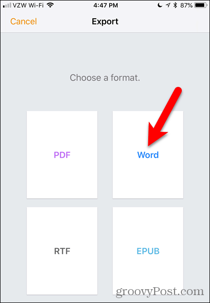 Tap Word in Pages for iOS