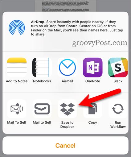 Tap Dropbox on Share sheet on iOS