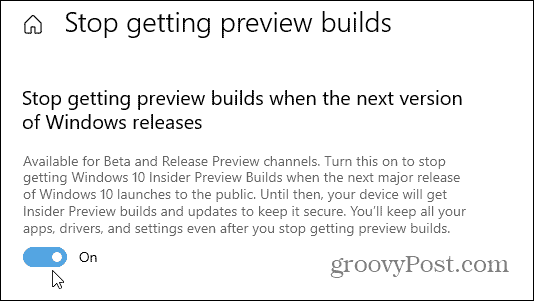 stop getting preview builds