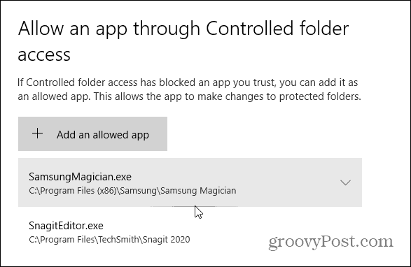 apps allowed through