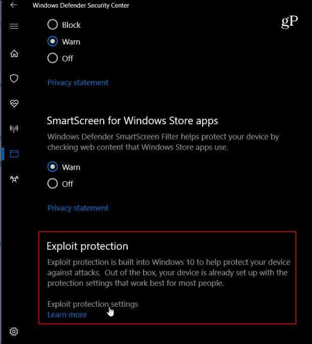 2 exploit protection settings