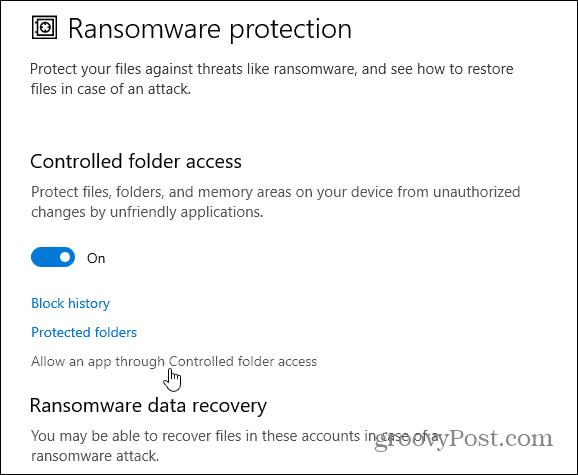allow app controlled folder access