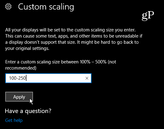 Custom Scaling