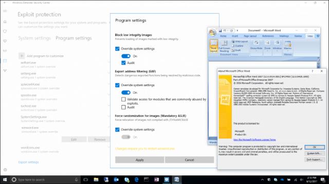 Exploit Protection Windows 10