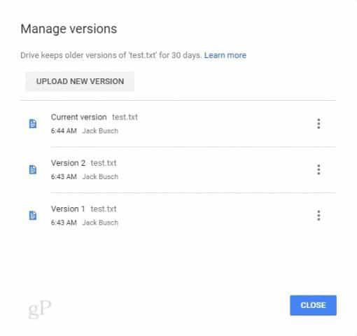google drive versions