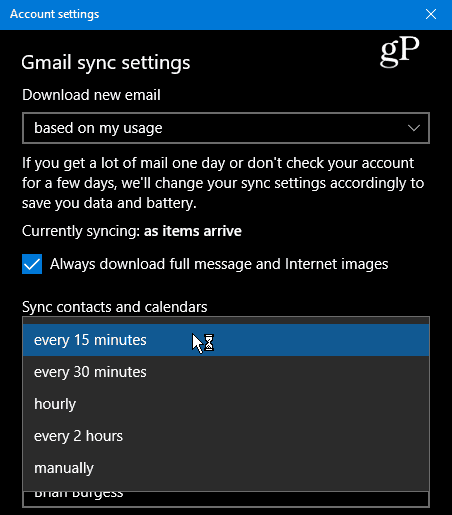 sync settings cal