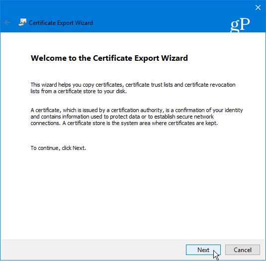 10 certificate export wizard