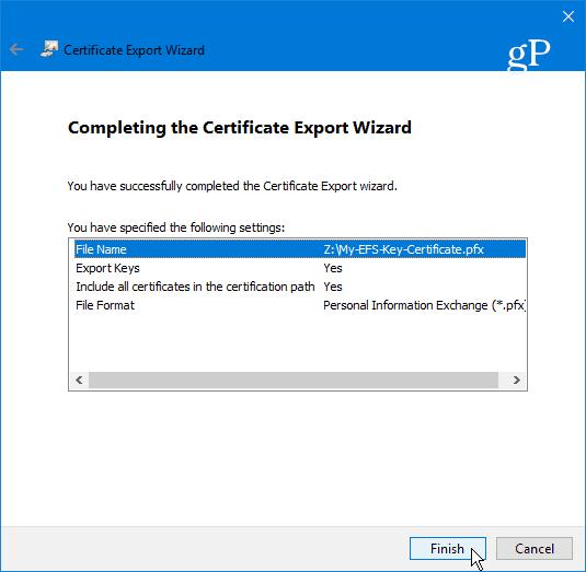 15 Complete Certificate Export Wizard