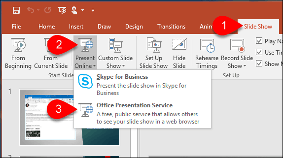 how to broadcast a powerpoint 2016 presentation online