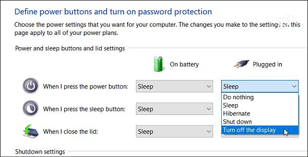Laptop settings