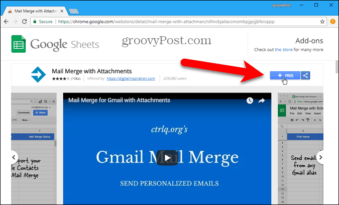 Install Mail Merge add-on