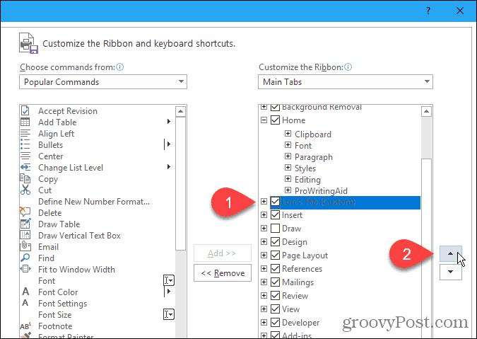 Move a custom tab