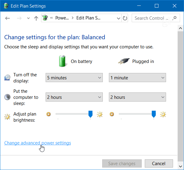 3 Change Advanced Power Settings