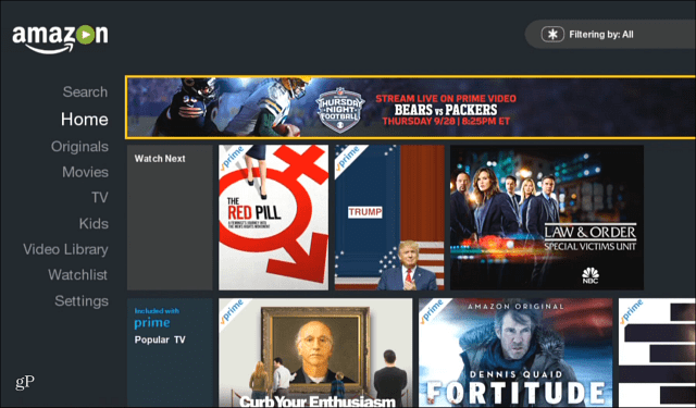 Amazon Video Home Screen NFL Banner