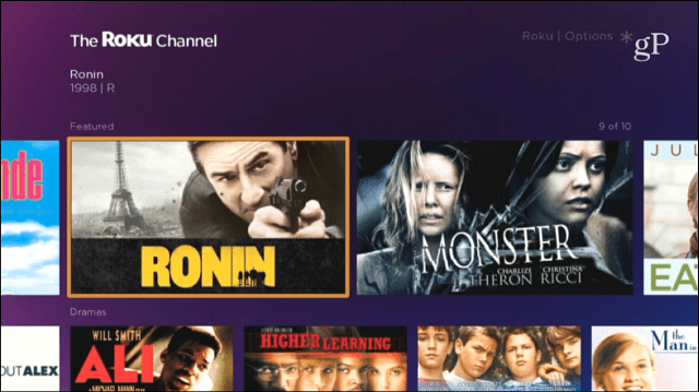 Roku Channel Menu