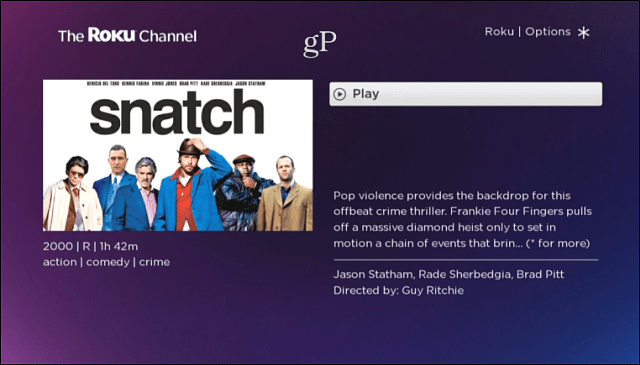 Roku Channel Movie Description
