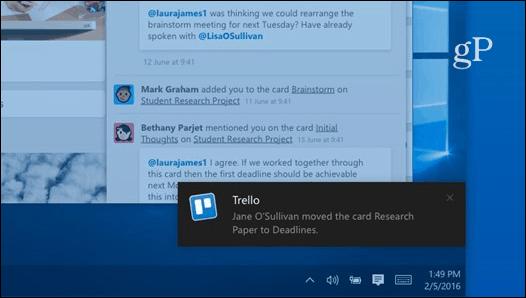 Trello Desktop Notification
