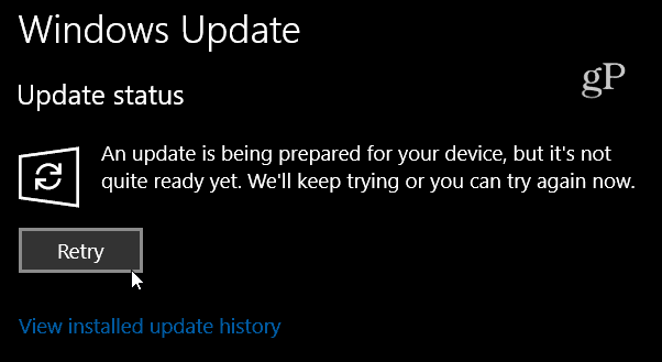 Windows 10 Build 16288 Retry Message