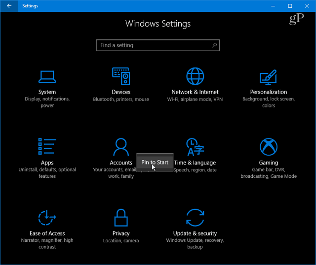 Windows 10 Settings Categories