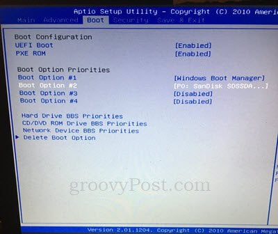 bios cannot boot from cd