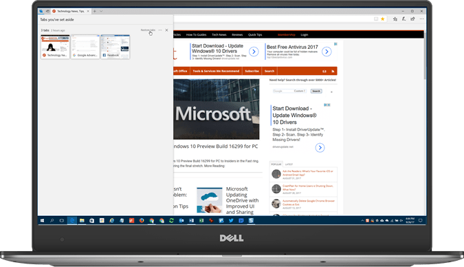 How to Set Aside Tabs for Later in Microsoft Edge Using Tab