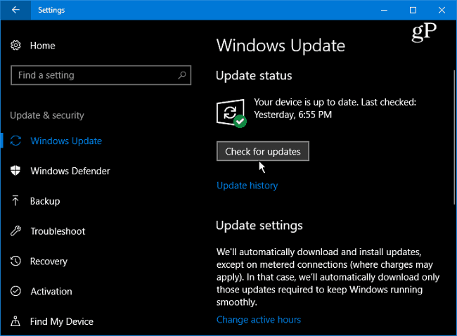 1 Windows 10 Check for Updates
