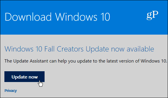 3 Update Assistant Page Windows 10