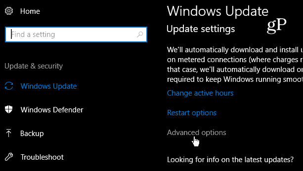 Advanced Windows 10 update Settings
