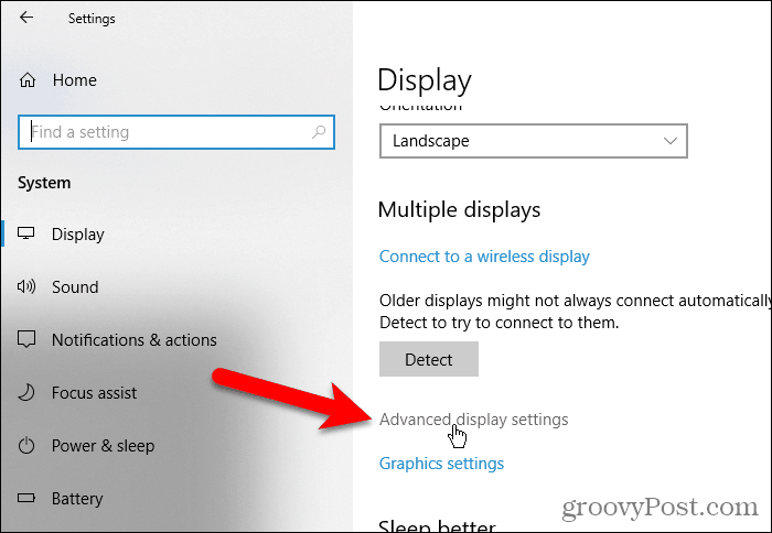 Click Advanced display settings in PC Settings